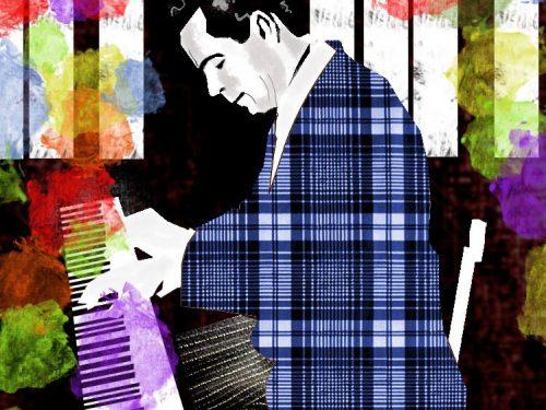 Pibe Hine en el piano, Ilustración de Juan Carlos Flores Hine